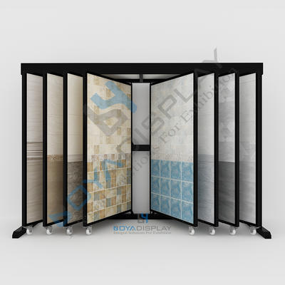 Selected Material Metal Page-Turning Type Wing Rack Display For Stone Tile