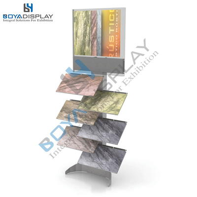 Up-To-Date Styling Wooden Floor Stone Tile Waterfall Standing Display Rack