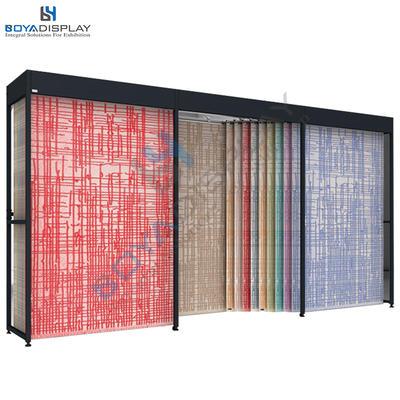 Custom size double row sliding type fabric carpet rug sample display stand rack for showroom